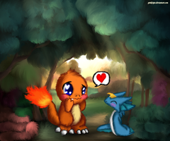 Fluffy Charmander with Zymonas by Pinki3pie