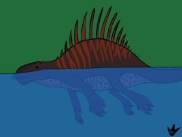 Swimming Dimetrodon by DinoBirdMan