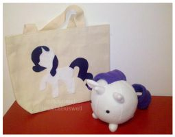 MLP - Gift - Rarity Bag and Pony-Puff by mihoyonagi
