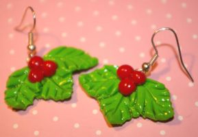 Holly berry earrings by Plastic-pearl