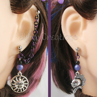 Purple and Black Connecting Chain Earrings by merigreenleaf