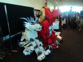 Two Digimon by HybridCreampuff