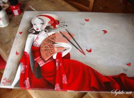 The girl in red in progress by LadySybile
