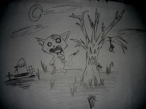 Zombie Cat On The Hunt by DoYouLovesIt