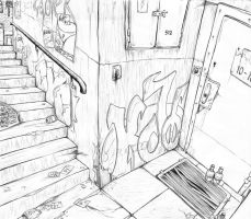 Staircase in a dirty alley~ by coyotek