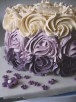 Purple Vanilla Ombre-Rose Cake by alexisfyre