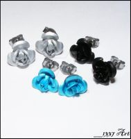 Rose Stud Earring Trio by 1337-Art