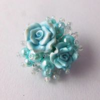 Turquoise pearl and rose cluster brooch by FayeValentineJewelry