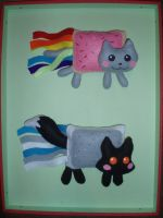 Nyan cat and fox comparing by WolfPink