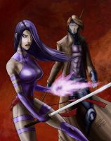 Psylocke and Gambit by RiekeRipples