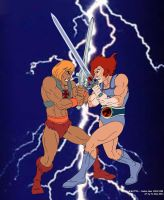 He-Man versus Lion-O by FaGian