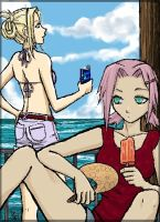 Ino and Sakura--Summer Rest by funny-neko