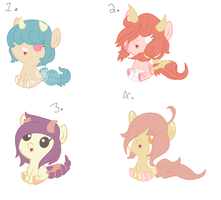 Opal and Sunset Blossom foals. -OPEN- by OfficerMittens
