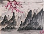 Chinese mountains and Sakura tree | Oil Painting by artmaker77