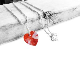 Swarovski Rose Red Magma Heart Crystal Necklace by crystaland