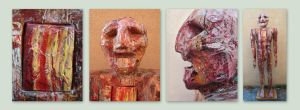Red Painted Man, 4 views by Art-of-Eric-Wayne