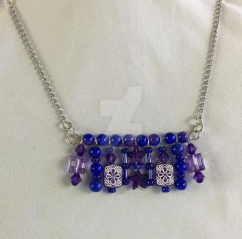 Fun Blue and Purple Beaded Pendant Necklace by hexxorba