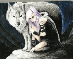 Wolf and girl by AlanaCat15