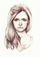 Girl with flower by dh6art