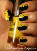 Yellow With Navy Polka Dots by ProlificMuse