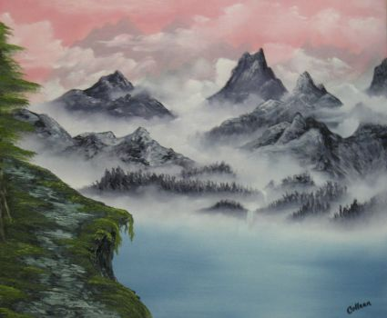 Misty Mountains Lake by crazycolleeny