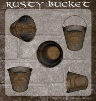 3D Rusty Buckets by zememz