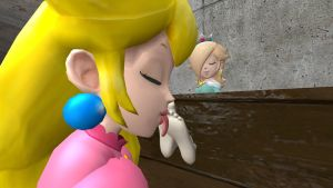 Peach licking Rosalina's feet 3 (request) by hectorlongshot