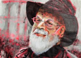 Acrylics painting Terry Pratchett by Barbarian-J
