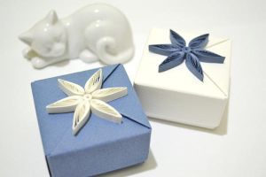 2 Blue and White Origami Gift Boxes by ReverseCascade