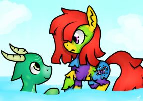 Commission: Pinata Pony and Aguava by KikiRDCZ