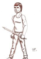 Swordsman (inked and overlayed) by guelpacq