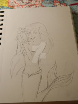 Little Mermaid Line Drawing by RedSnapDragons