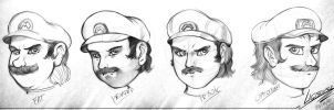 Mario head sketches by xXLightsourceXx