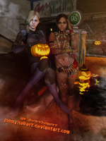 Jill and Sheva in Halloween by JhonyHebert
