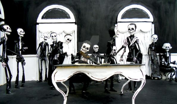 Mexico balck white skeletons by chaos-dark-lord