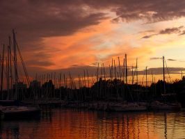 orange port sunset by PiskotaTeszta