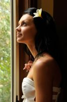 Tara - white dress at window 1 by wildplaces