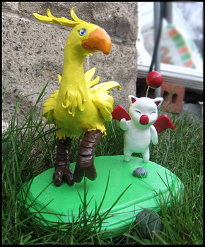 Chocobo and Moogle Sculpture by HollieBollie