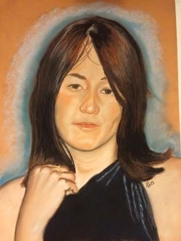 My wife in her early twenties - Soft pastels by saddlers