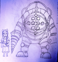 Big Daddy and little sister by CalliopeCloudCat