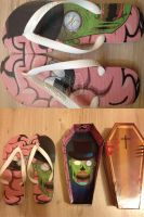 Zombie ''Like a Sir'' flip flops and Coffin Box by burps20