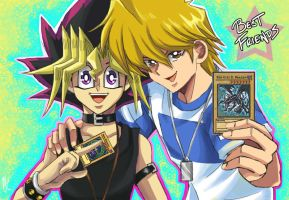 Yugi and Jounouchi: Best Friends by weezajin