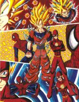 SSJ 2Goku, Spider-Man, and The Flash Crossover by d13mon-studios