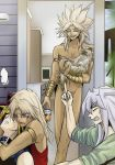 Marik, Yami, Bakura and Melvin with the lovely cat by Arisueve