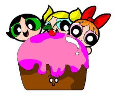 the powerpuff girls and a cake by NOODLE101084