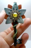 Gear Flower with Key Necklace Pendant by Brisbykins