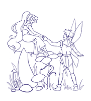Thumbelina WIP - Lineart by siquia