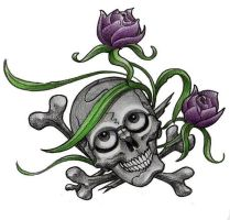 skull with flowers by cigla