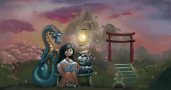 Evening Storytelling Time by Anne-O
