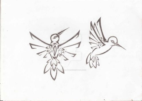 Tribal Humming Birds Tattoos by fallenlily18